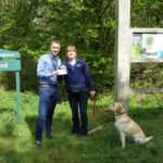 Lee Thresher, Guide Dogs, receives cheque from Alex Mees owner of Petpals Basingstoke