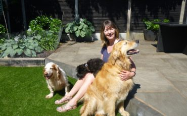 Sarah Richardson with three dogs