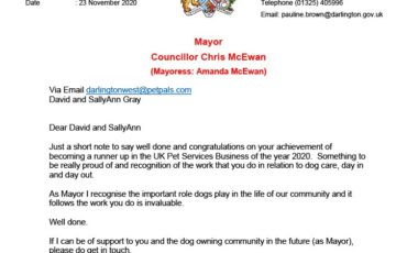 A letter from the Mayor of Darlington to David and SallyAnn Gray